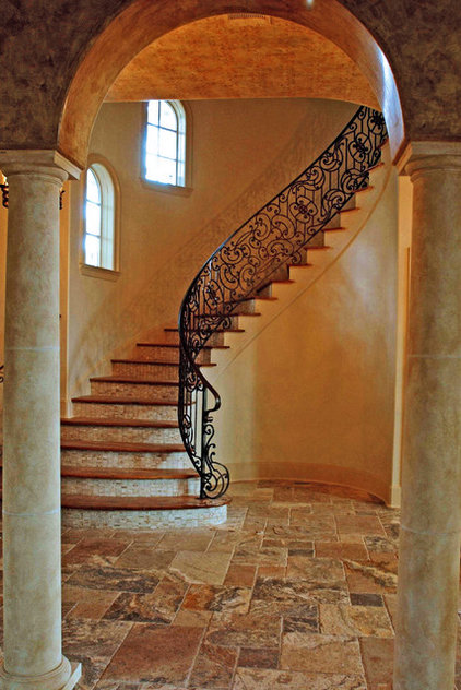 Eclectic Staircase by StoneMar Natural Stone Company LLC