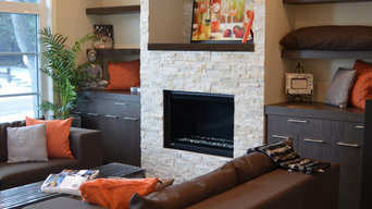 Splitface Ledgestone Fireplace - Ivory Travertine