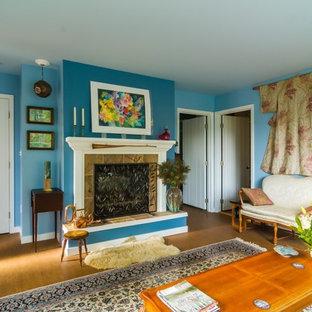 サンフランシスコの小さいエクレクティックスタイルのおしゃれな独立型リビング (青い壁) の写真