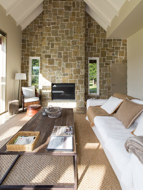 Inspiration For A Mid Sized Country Open Concept Living Room In Wollongong  With Beige Walls Part 73