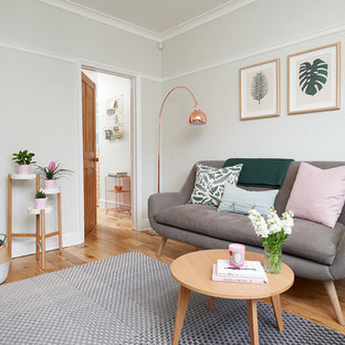 Small scandinavian enclosed living room in Hertfordshire with grey walls, light hardwood flooring and brown floors.