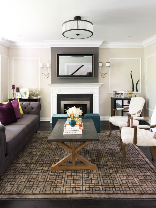 Living Room   Mid Sized Transitional Open Concept Dark Wood Floor Living  Room Idea In