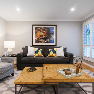 Design Ideas For A Transitional Formal Enclosed Living Room In Sydney With Grey  Walls, Medium