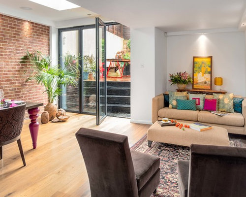 Large Contemporary Formal Enclosed Living Room In London With White Walls And Medium Hardwood Floors