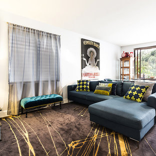 Design ideas for a contemporary living room in Melbourne.