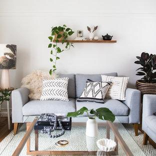 Diseño de salón para visitas cerrado, costero, pequeño, sin chimenea, con paredes blancas, suelo marrón y suelo de madera en tonos medios