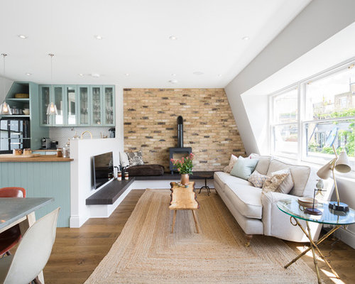 Photo Of A Farmhouse Formal Open Plan Living Room In London With White  Walls, Medium