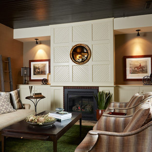 Design ideas for a large classic formal enclosed living room in Minneapolis with brown walls, a standard fireplace, limestone flooring, a wooden fireplace surround, no tv and beige floors.