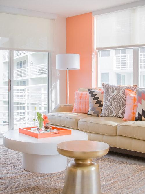 Houzz Living Room Tile Floor Design Ideas Remodels Photos With Porcelain