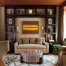 sofas in book case surround