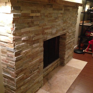 Stack stone fireplace remodel
