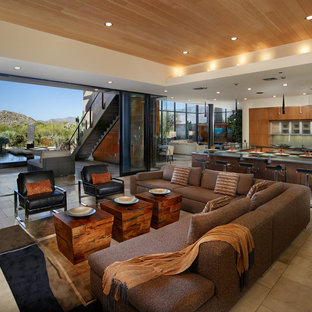 Example of a huge trendy open concept living room design in Phoenix with white walls