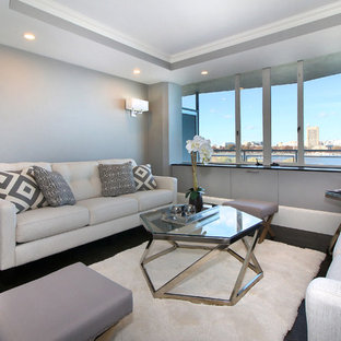 Transitional formal dark wood floor living room photo in Boston with gray walls and no tv