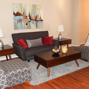Staged formal living room in vacant home.