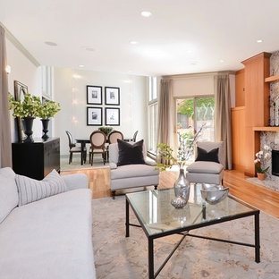 Mid-sized transitional formal and open concept light wood floor living room photo in Chicago with white walls, a standard fireplace, a stone fireplace and no tv