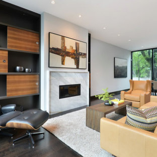 Inspiration for a mid-sized modern formal and open concept dark wood floor living room remodel in Chicago with white walls and no tv