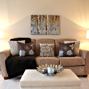 Living room - contemporary living room idea in Toronto with beige walls