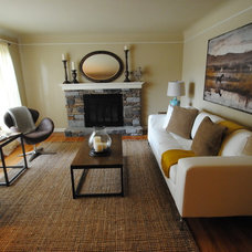 Transitional Living Room by Staging Cincinnati