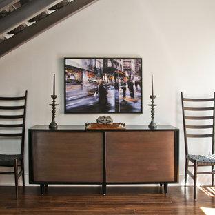 Living room - contemporary dark wood floor living room idea in Kansas City with white walls