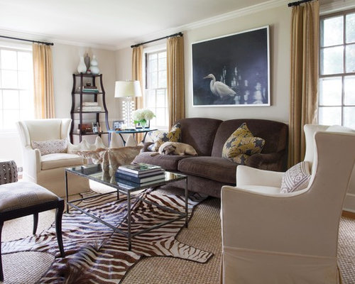 Zebra rug living room design ideas remodels photos houzz for Living room ideas with zebra rug