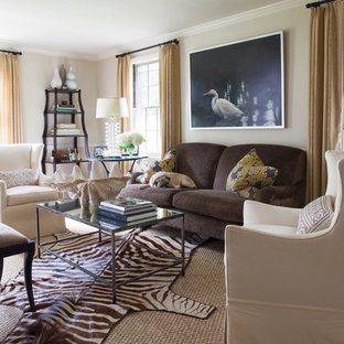 Inspiration for a mid-sized timeless enclosed and formal carpeted living room remodel in New York with white walls, no fireplace and no tv
