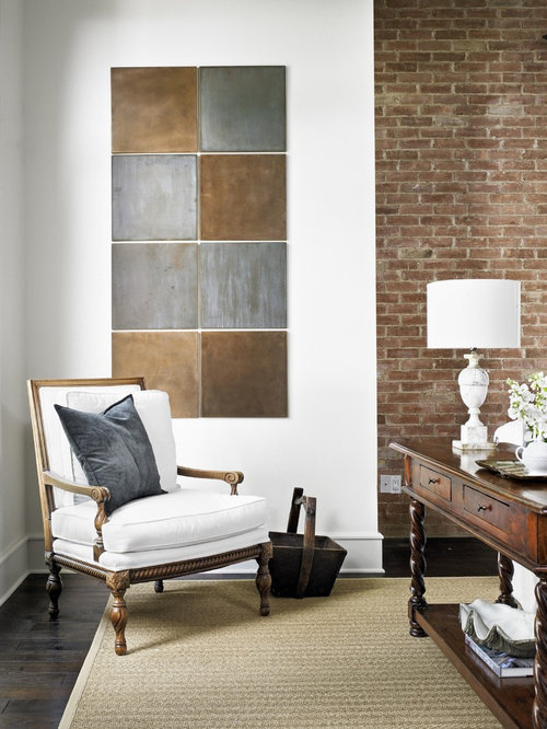 Inspiration for a timeless living room remodel in Austin with white walls. Living Room Tile   Houzz