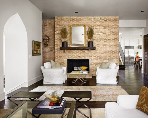 Living Room With Brick Fireplace red brick fireplace surround | houzz
