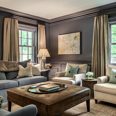 Mid-sized elegant formal and enclosed living room photo in New York with gray walls and a media wall