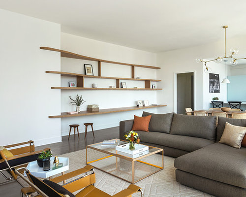 Inspiration For A 1960s Open Concept Living Room Remodel In New York With  White Walls