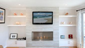 Statement fireplace with seashell decor