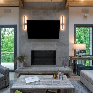 シャーロットの中サイズのビーチスタイルのおしゃれなLDK (白い壁、淡色無垢フローリング、標準型暖炉、コンクリートの暖炉まわり、壁掛け型テレビ、グレーの床) の写真