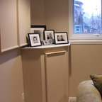 Built In Shelving Conceals Sump Pump Traditional