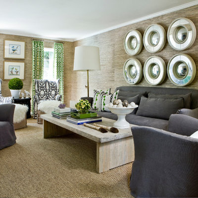 Living room - large contemporary living room idea in Atlanta with brown walls
