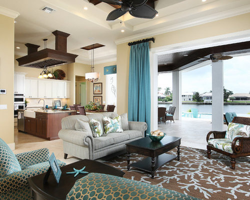 Mid Sized Beach Style Formal Open Concept Living Room Idea In Miami With Beige Walls