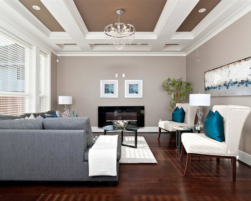 Example Of A Trendy Brown Floor Living Room Design In Vancouver With Gray  Walls And A