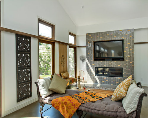 Living Room   Contemporary Living Room Idea In Los Angeles With A Ribbon  Fireplace And A