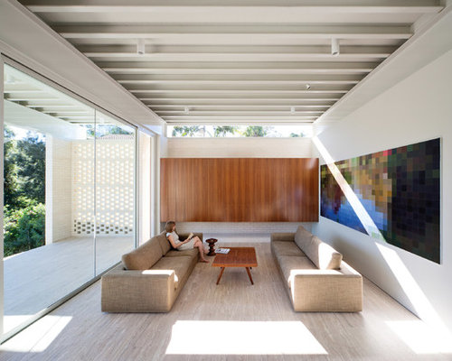 Marvelous Example Of A Minimalist Open Concept Living Room Design In Sydney With  White Walls