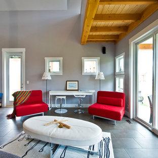 Most Popular Gray Slate Floor Living Room Design Ideas
