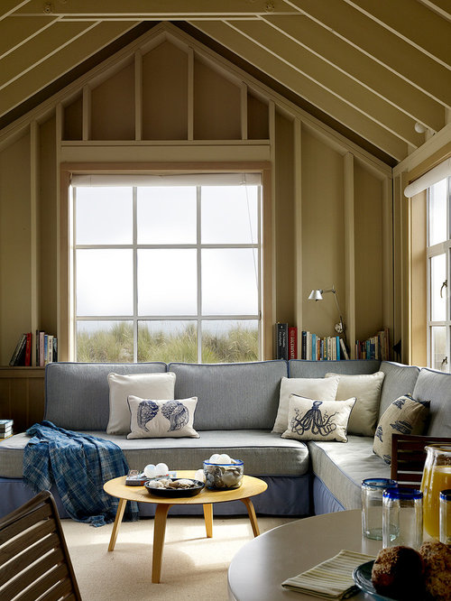 Inspiration For A Beach Style Living Room Remodel In San Francisco With Beige Walls