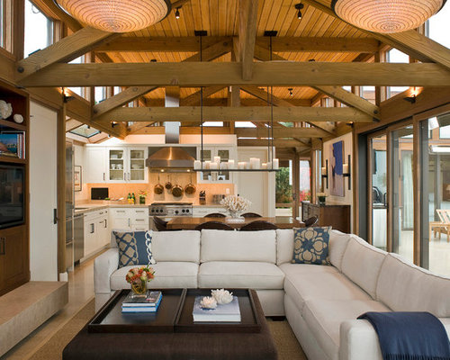 beach style open concept living room idea in san francisco with a