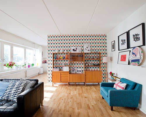 Example Of A Mid Sized Midcentury Modern Open Concept Living Room Design In Stockholm With