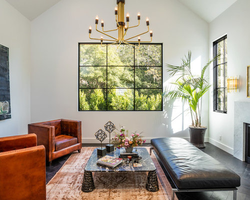 Inspiration For A Transitional Gray Floor Living Room Remodel In Los  Angeles With White Walls And