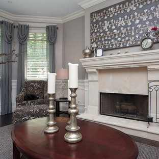 Mid-sized elegant formal dark wood floor living room photo in Chicago with gray walls, a standard fireplace and a stone fireplace