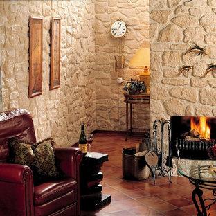 Foto di un piccolo soggiorno rustico con pareti bianche, camino classico, libreria, pavimento in terracotta e cornice del camino in intonaco