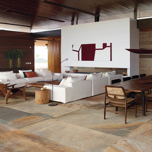 Inspiration for a modern open concept porcelain tile living room remodel in Dallas with a ribbon fireplace