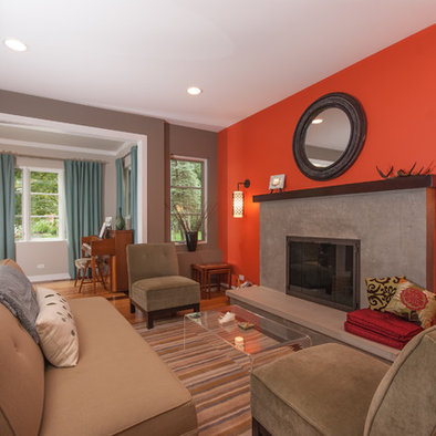 Orange accent wall living room beautiful cock love Orange and red living room design
