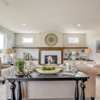 Living room - mid-sized transitional open concept carpeted and gray floor living room idea in Minneapolis with gray walls, a standard fireplace and a tile fireplace