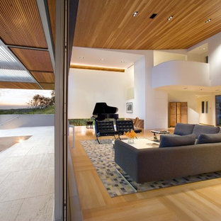 Inspiration for a huge contemporary living room remodel in Austin with a music area