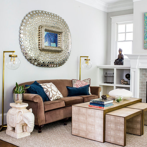 Lovely Example Of A Large Transitional Living Room Design In Atlanta With White  Walls, A Standard