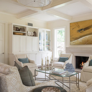 This is an example of a large beach style formal open plan living room in Austin with a standard fireplace, white walls, dark hardwood flooring, a stone fireplace surround, a built-in media unit and brown floors.